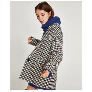 Zara Wool Blend Checkered Blazer